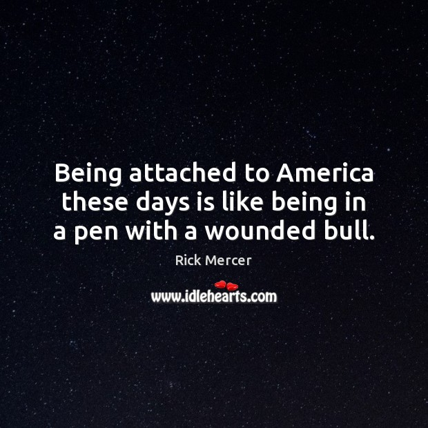 Being attached to America these days is like being in a pen with a wounded bull. Rick Mercer Picture Quote