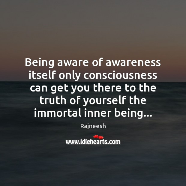 Image, Being aware of awareness itself only consciousness can get you there to