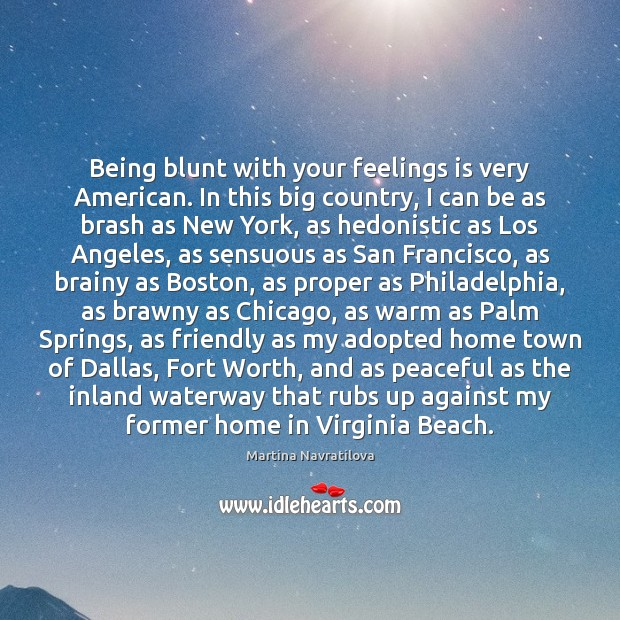 Image, Being blunt with your feelings is very American. In this big country,