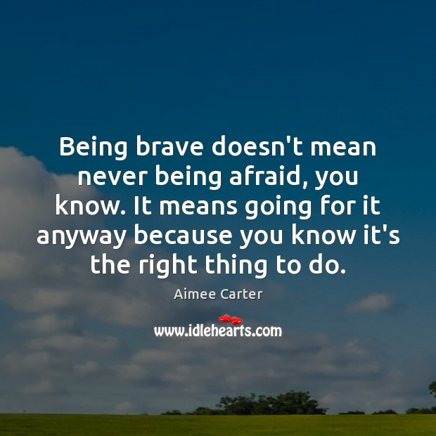 Image, Being brave doesn't mean never being afraid, you know. It means going