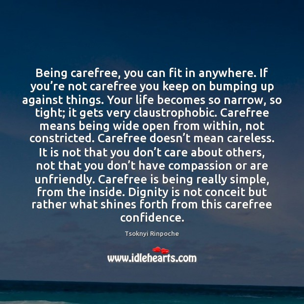 Being carefree, you can fit in anywhere. If you're not carefree Confidence Quotes Image
