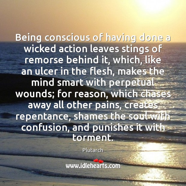 Being conscious of having done a wicked action leaves stings of remorse Plutarch Picture Quote