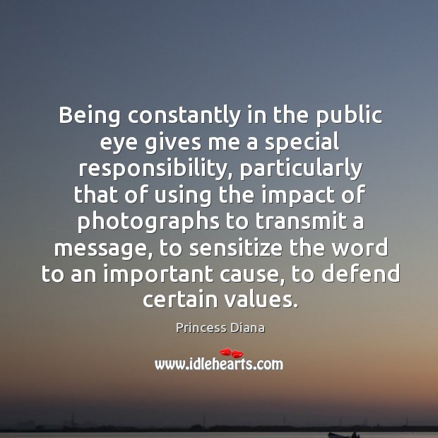 Being constantly in the public eye gives me a special responsibility, particularly Image