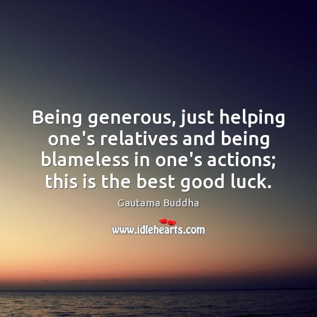 Image, Being generous, just helping one's relatives and being blameless in one's actions;