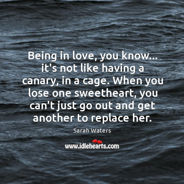 Being in love, you know… it's not like having a canary, in Sarah Waters Picture Quote