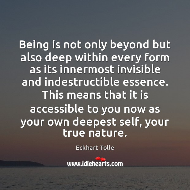 Being is not only beyond but also deep within every form as Image