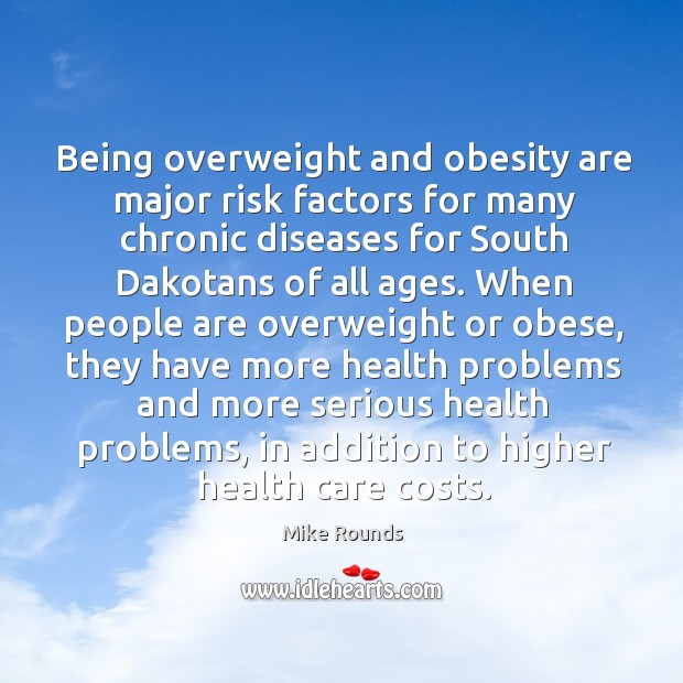 Being overweight and obesity are major risk factors for many chronic diseases for south dakotans of all ages. Image