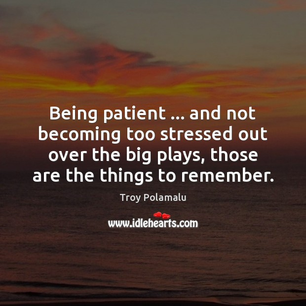 Being patient … and not becoming too stressed out over the big plays, Troy Polamalu Picture Quote