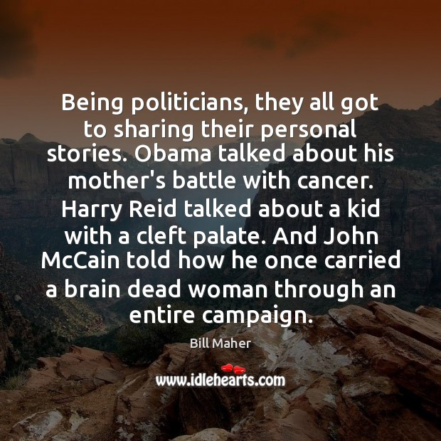 Image, Being politicians, they all got to sharing their personal stories. Obama talked