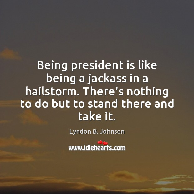 Being president is like being a jackass in a hailstorm. There's nothing Image