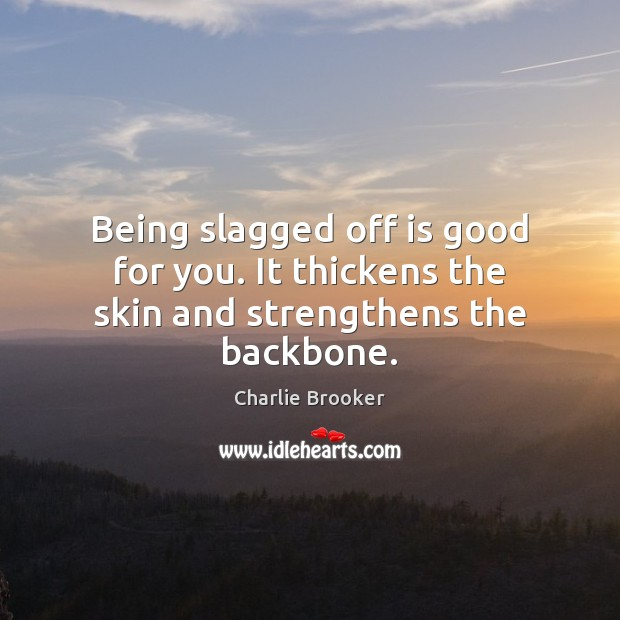 Being slagged off is good for you. It thickens the skin and strengthens the backbone. Image