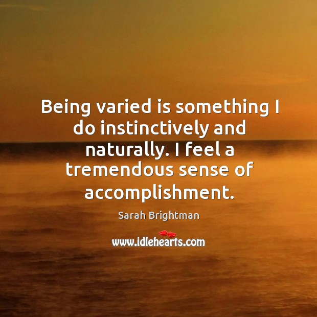 Being varied is something I do instinctively and naturally. I feel a tremendous sense of accomplishment. Image