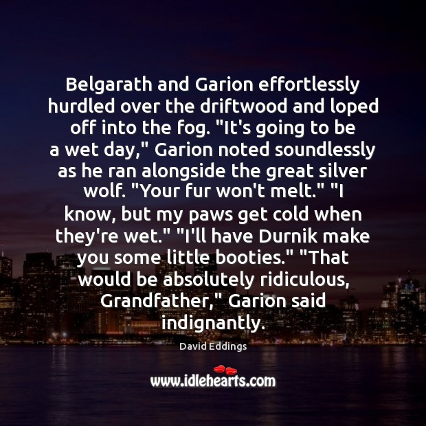 Belgarath and Garion effortlessly hurdled over the driftwood and loped off into David Eddings Picture Quote