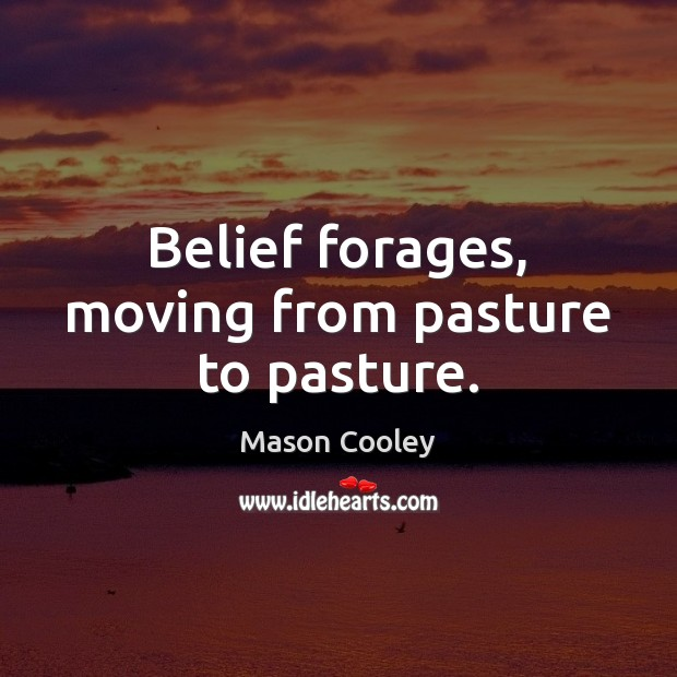 Belief forages, moving from pasture to pasture. Image