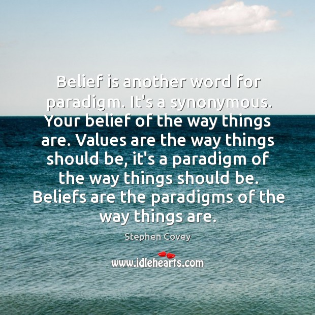 Belief is another word for paradigm. It's a synonymous. Your belief of Belief Quotes Image