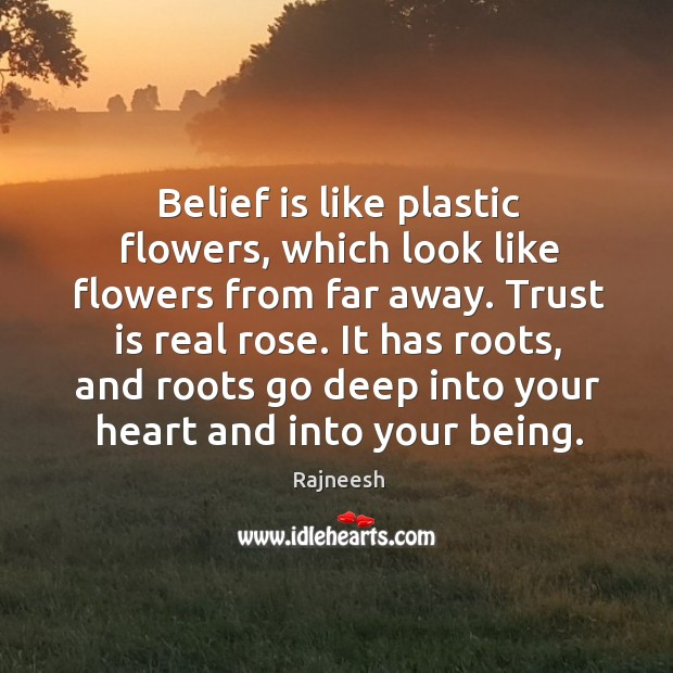 Belief is like plastic flowers, which look like flowers from far away. Belief Quotes Image