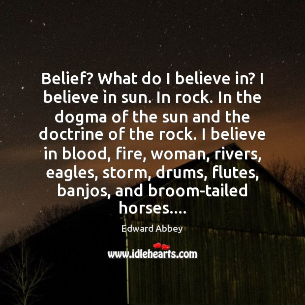 Belief? What do I believe in? I believe in sun. In rock. Edward Abbey Picture Quote