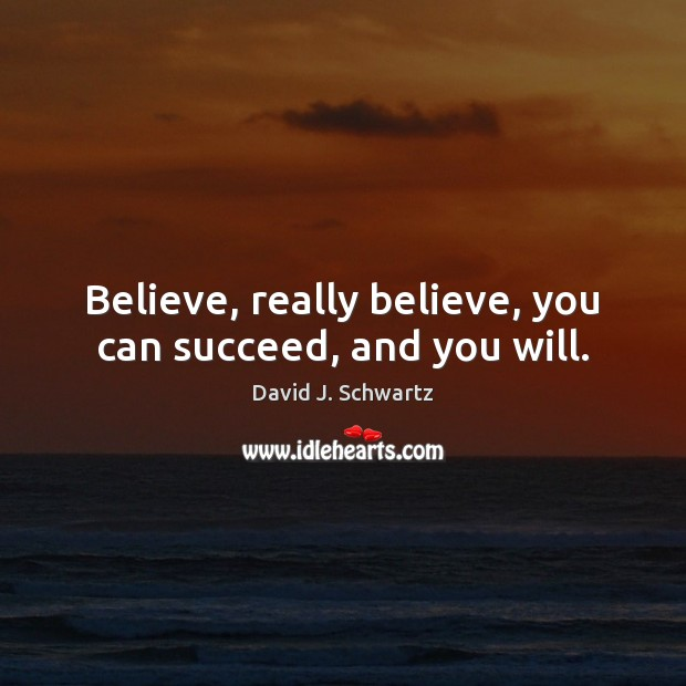 Believe, really believe, you can succeed, and you will. David J. Schwartz Picture Quote