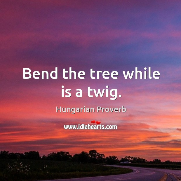 Bend the tree while is a twig. Image