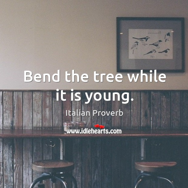 Image, Bend the tree while it is young.