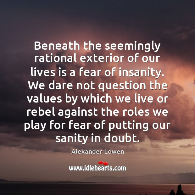 Image, Beneath the seemingly rational exterior of our lives is a fear of