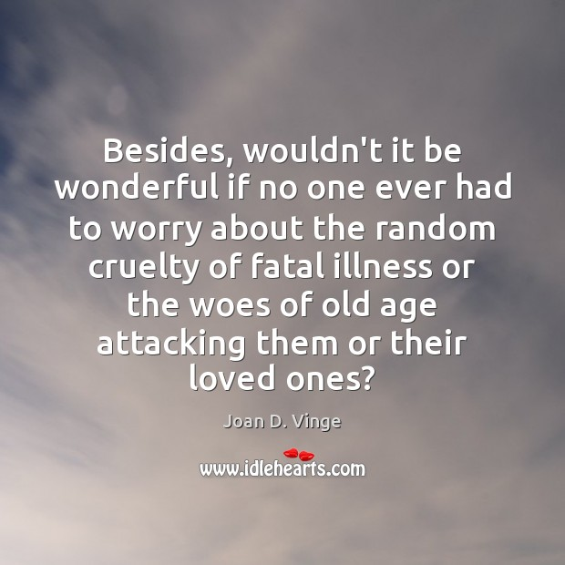 Besides, wouldn't it be wonderful if no one ever had to worry Joan D. Vinge Picture Quote