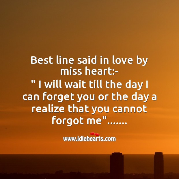 Best line said in love by miss heart Missing You Messages Image