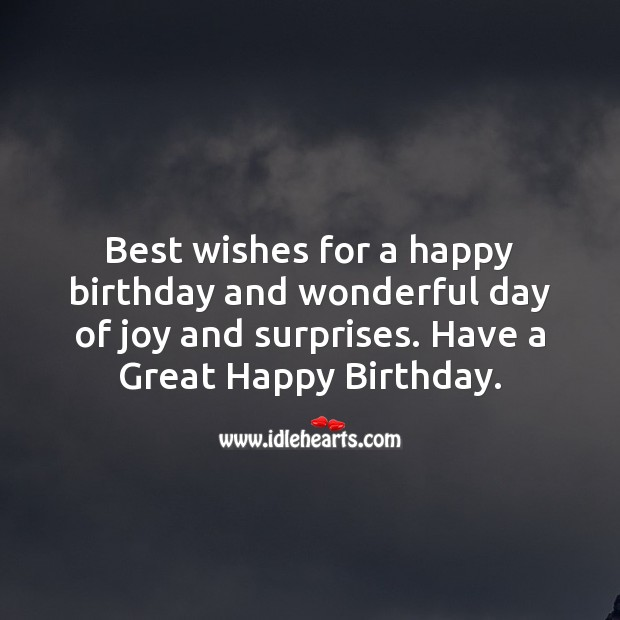 Best wishes for a happy birthday and wonderful day of joy and surprises. Image