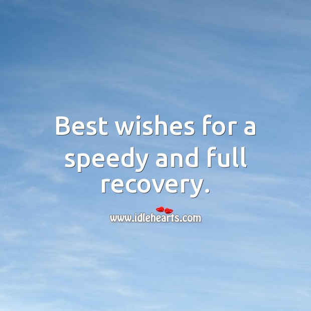 Best wishes for a speedy and full recovery. Get Well Soon Messages Image
