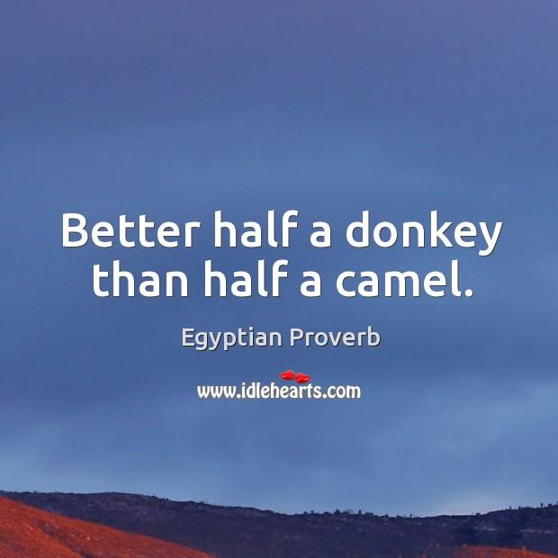 Image, Better half a donkey than half a camel.