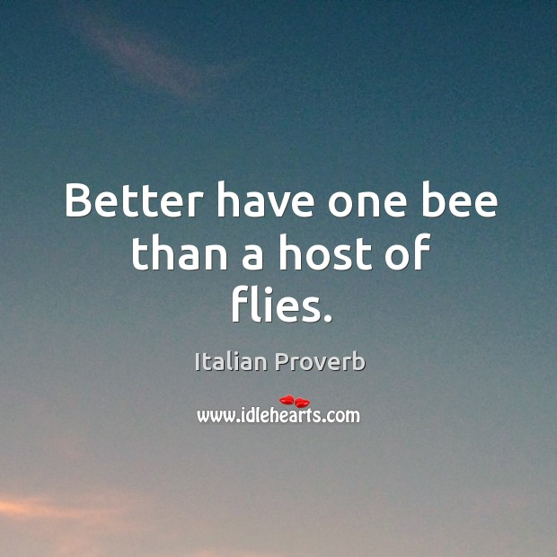 Image, Better have one bee than a host of flies.