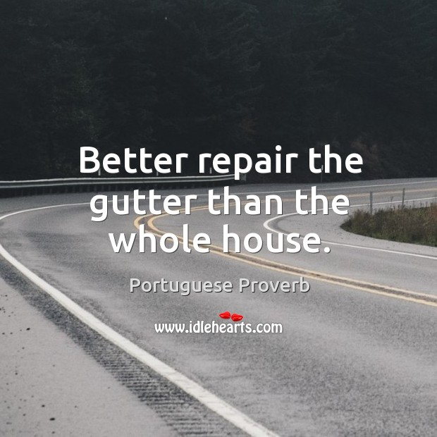Better repair the gutter than the whole house. Image