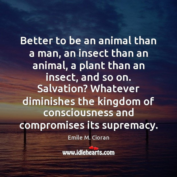 Better to be an animal than a man, an insect than an Emile M. Cioran Picture Quote