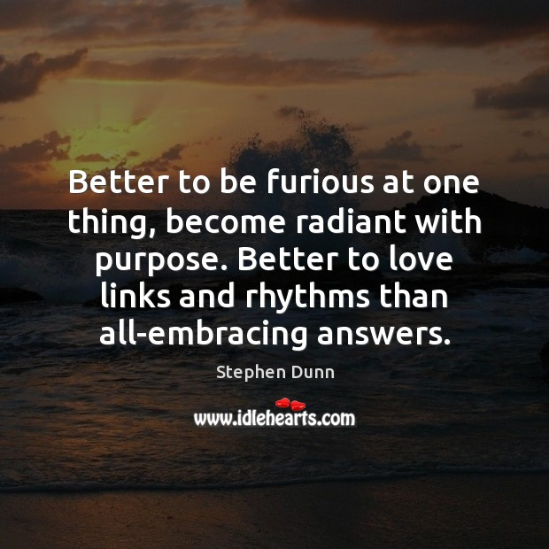 Better to be furious at one thing, become radiant with purpose. Better Image