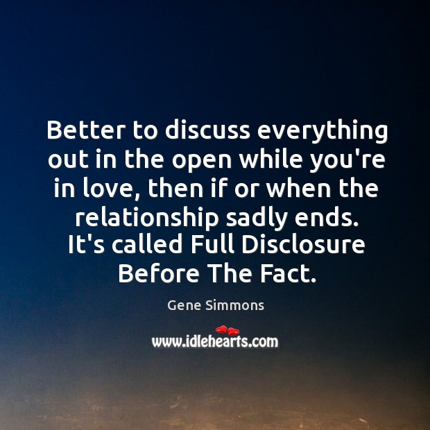 Better to discuss everything out in the open while you're in love, Image