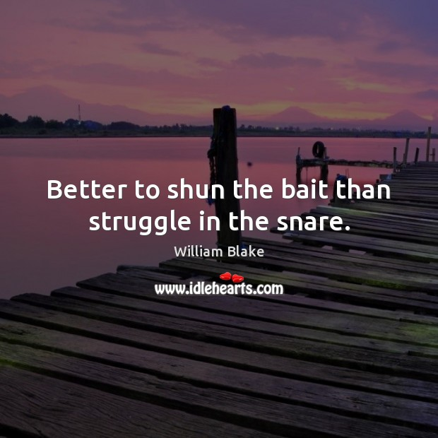 Better to shun the bait than struggle in the snare. William Blake Picture Quote
