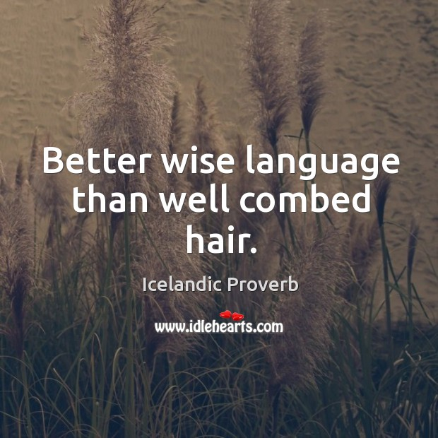 Better wise language than well combed hair. Icelandic Proverbs Image
