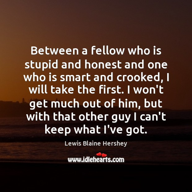 Between a fellow who is stupid and honest and one who is Image