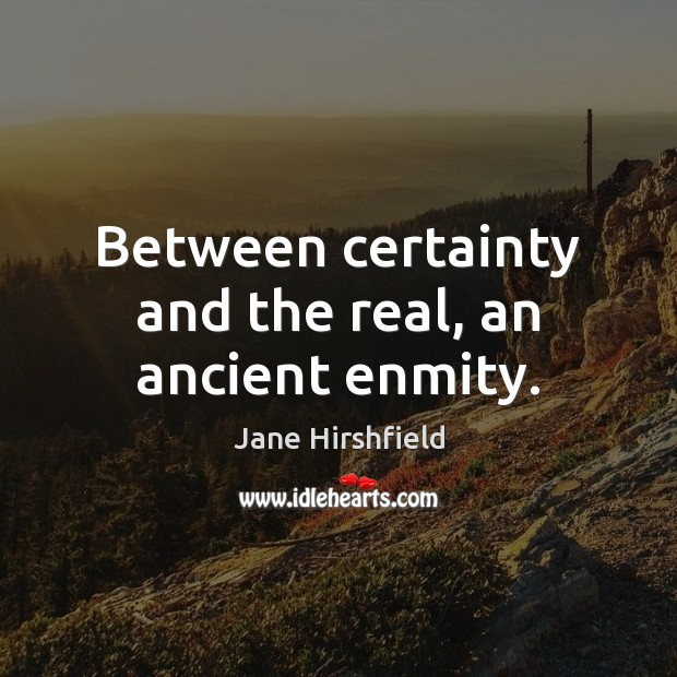 Between certainty and the real, an ancient enmity. Image