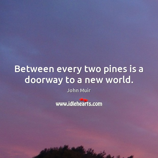 Between every two pines is a doorway to a new world. John Muir Picture Quote