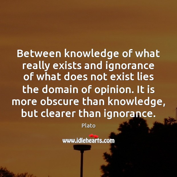 Between knowledge of what really exists and ignorance of what does not Plato Picture Quote