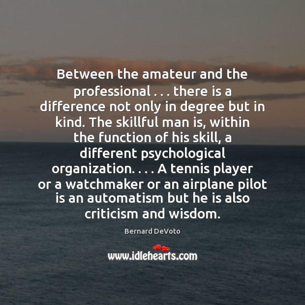 Between the amateur and the professional . . . there is a difference not only Image