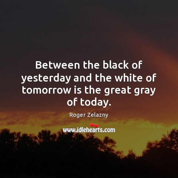 Between the black of yesterday and the white of tomorrow is the great gray of today. Image