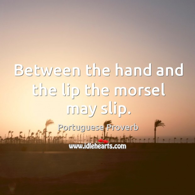 Image about Between the hand and the lip the morsel may slip.
