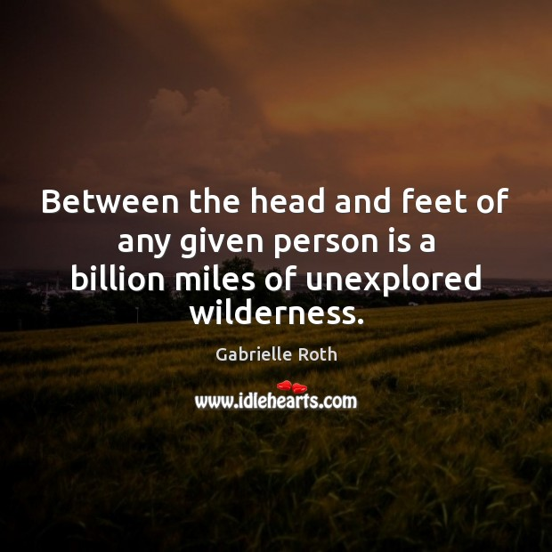 Image, Between the head and feet of any given person is a billion miles of unexplored wilderness.