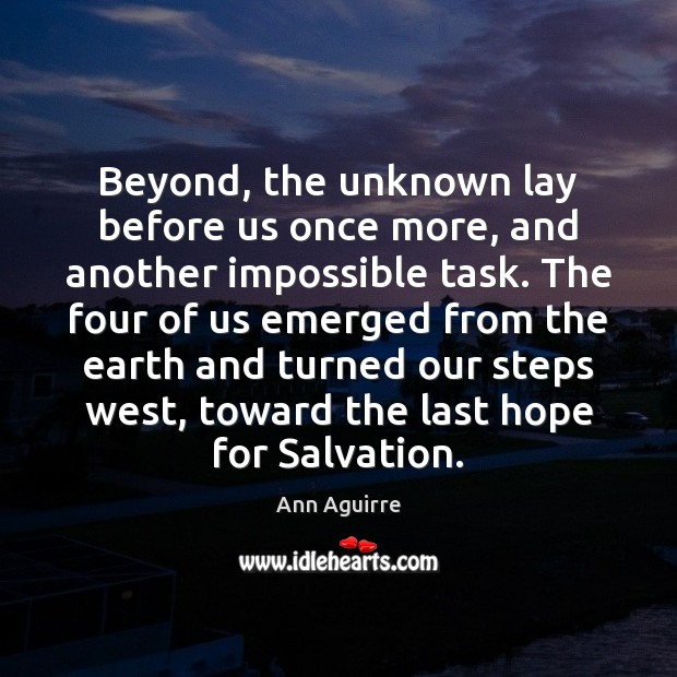 Beyond, the unknown lay before us once more, and another impossible task. Ann Aguirre Picture Quote