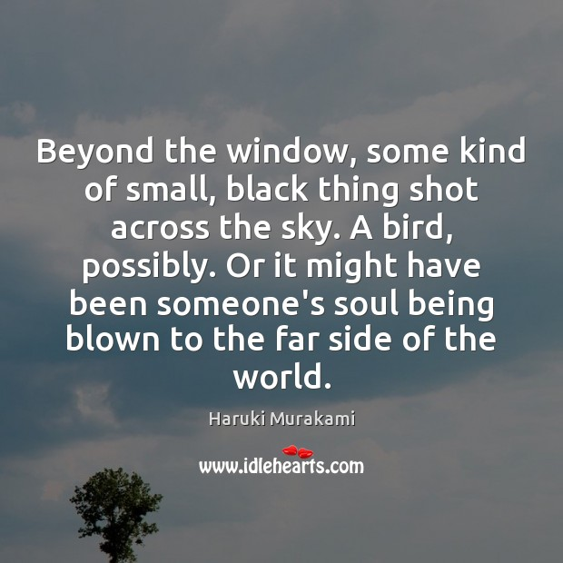 Beyond the window, some kind of small, black thing shot across the Haruki Murakami Picture Quote