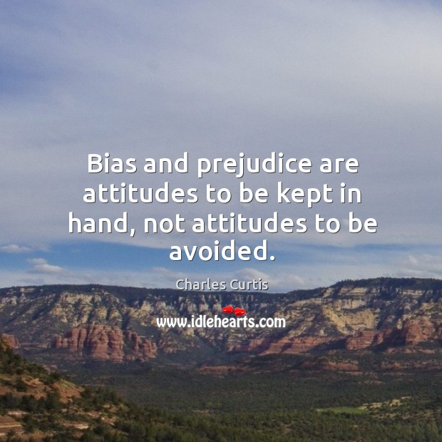 Image, Bias and prejudice are attitudes to be kept in hand, not attitudes to be avoided.