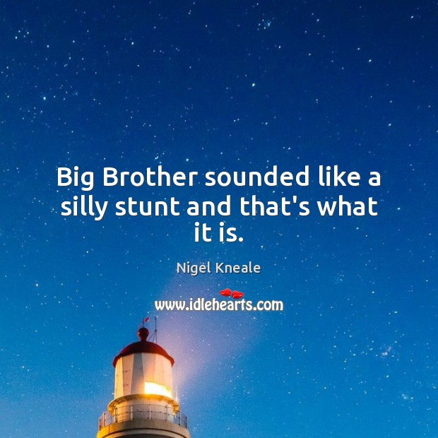 Big Brother sounded like a silly stunt and that's what it is. Image