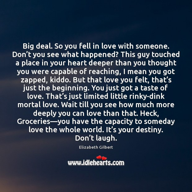 Big deal. So you fell in love with someone. Don't you Elizabeth Gilbert Picture Quote